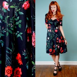 red roses sweetheart neckline fit and flare dress